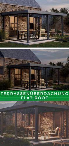 Terrassen Ideen: Unsere Terrassenüberdachung Flat Roof ist eine stilvolle Möglichkeit, auch bei Regen Zeit auf der Terrasse zu verbringen. Ob an der Wand oder freistehend, Sie entscheiden, wie Sie Ihre neue Überdachung nutzen wollen. Greifen Sie jetzt zu! Bungalow, Led Profil, Flat Roof, Aluminium, Mansions, House Styles, Home Decor, Sewer System, Construction Drawings