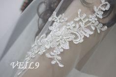 Retro Lace Applique Wedding Veil Bridal Long white by VEIL9, $48.99