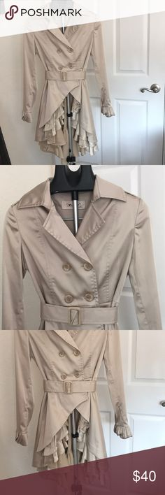 Brand new trenchcoat Beautiful trenchcoat with ruffles on the bottom runs small LinXi Jackets & Coats Trench Coats
