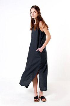 Linen Maxi Dress Long Linen Dress Charcoal Linen Dress