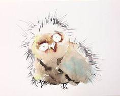 "Saatchi Art Artist Kristina Broza; Painting, ""Baby Owl (sold)"" #art"
