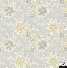 Chloe Honey Floral Wallpaper  [FFA-82002] Frederica Frontere   Color: Honey   DesignerWallcoverings.com   Luxury Wallpaper   @DW_LosAngeles   #Custom #Wallpaper #Wallcovering #Interiors