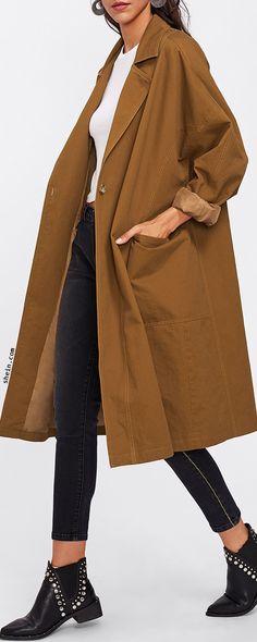 SHEINPatch Pocket Detail Solid Coat