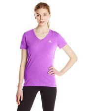 NWT Adidas Performance Womens Ultimate V Neck Short Sleeve Tee FLASH PINK S15