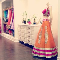stunning oranange and magenta outfit by CTC WEST with silver/gold workings