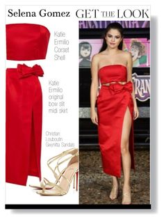 """""""Selena Gomez Get The Look"""" by voguefashion101 ❤ liked on Polyvore featuring Katie Ermilio and Christian Louboutin"""