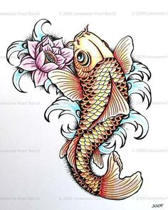 """Koi fish are the domesticated variety of common carp. Actually, the word """"koi"""" comes from the Japanese word that means """"carp"""". Outdoor koi ponds are relaxing. Lotus Tattoo Design, Flower Tattoo Designs, Coy Fish Tattoos, Carp Tattoo, Ganesha Tattoo, Tattoo Ink, Tattoo Girls, Girl Tattoos, Tatoos"""