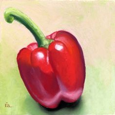organic pepper pastel painting 5 in X 5 in -- Ria Hills