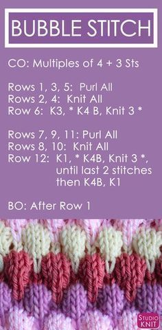 up the Bubble Stitch Pattern by Bubble Knit Stitch Pattern with Easy Free Pattern + Knitting Video Tutorial by Studio Knit.Bubble Knit Stitch Pattern with Easy Free Pattern + Knitting Video Tutorial by Studio Knit. Knitting Stiches, Knitting Videos, Easy Knitting, Knitting Needles, Knitting Patterns Free, Knitting Projects, Crochet Patterns, Free Pattern, Knit Stitches