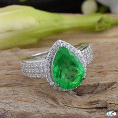 ILIANA Emerald and Diamond Ring in 18K White Gold | Liquidation Channel