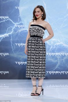 Stunning: Emilia Clarke attended the premiere of Terminator Genisys on Sunday wearing a be...