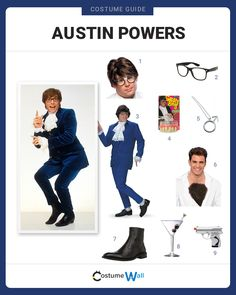 The best costume guide for dressing like Austin Powers, the British spy from the comedy movie Austin Powers: International Man of Mystery. Movie Character Halloween Costumes, Halloween Outfits, Costume Halloween, Halloween Ideas, Halloween Decorations, Austin Powers Theme, Austin Powers Costume, Got Costumes, Costume Ideas