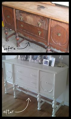 Buffet before after-refinish and repurpose!!! I see these pieces on craigslist all the time and could redo one.
