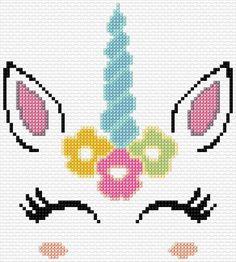 73 x 81 stitches 10 colors Unicorn Cross Stitch Pattern, Cross Stitch Pattern Maker, Disney Cross Stitch Patterns, Cross Stitch Designs, Tiny Cross Stitch, Simple Cross Stitch, Cross Stitch Geometric, Cross Stitch For Kids, Cross Stitching
