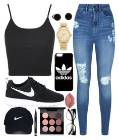"""Causal Day Out??"" by fanta-girl ❤ liked on Polyvore featuring Topshop, Lipsy, NIKE, Nike Golf, adidas, Michael Kors, Lime Crime, Yves Saint Laurent, MAC Cosmetics and ZeroUV"