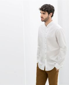 ZARA - MAN - STRUCTURED SHIRT WITH MAO COLLAR AND SNAP BUTTONS
