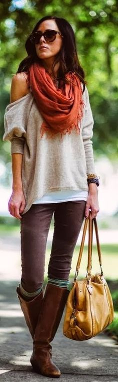 Off Shoulder Sweater With Skinny Jeans,Yellow Bag and Scarf