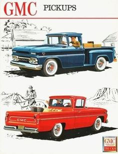 GMC Fenderside And Wide Side Pickups 1962 : GMC Fenderside And Wide Side Pickups 1962 Mad Men Art: The 1891 1970 Vintage Advertisement Art Collection Chevy Pickup Trucks, Classic Chevy Trucks, Chevy C10, Gm Trucks, Chevy Pickups, Chevrolet Trucks, Cool Trucks, Classic Cars, Station Wagon