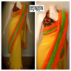 Elegant yellow sequenced saree with neon borders and a multicolored halter blouse to throw in some glamour.