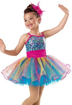 Rainbow Curly Hem Recital Dress -Weissman Costumes