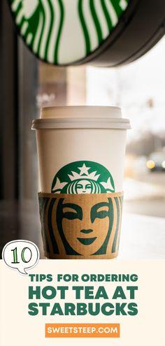 "Fun and interesting tips and ""secrets"" for ordering Starbucks hot tea drinks. #starbucks #tea #hot #teavana #drinks #starbucksdrinks #chai #brewed #tealatte Chai Tea Starbucks, Starbucks Drinks, Hot Coffee, Coffee Cups, Tea Cups, How To Order Starbucks, Tea Drinks, Latte Recipe, Tea Latte"