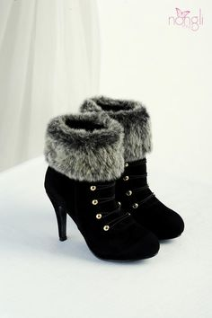 Nongli  Faux-Fur Trim Studded Boots