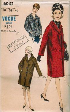 Vintage 60s Jackie Chesterfield Coat Jacket Three Lengths Sewing Pattern Vogue 6052 B38