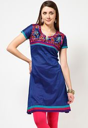 A blue coloured embroidered kurta for women from Anahi. Made from Jacquard fabric, this embroidered kurta comes in regular fit. It features a thigh length, short sleeves and a round neck.
