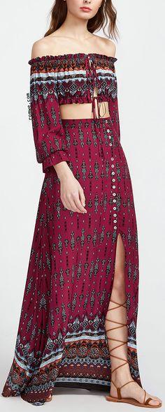 Summer Beach Style - Vintage Print Drawstring Bardot Top With Split Skirt