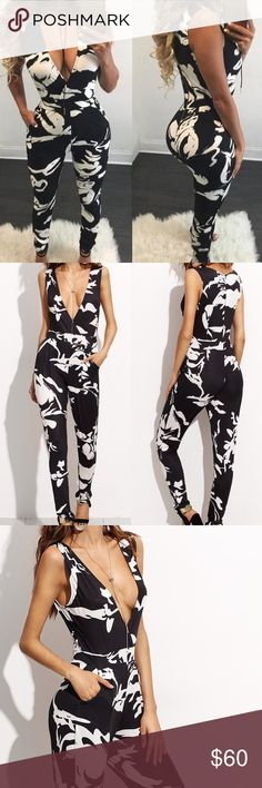 🆕Fall Collection💕The Genevieve Deep V Jumpsuit Item#RWPAP3185014 measurements: see chart above Pants Jumpsuits & Rompers
