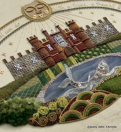 Hampton Court Palace Raised Embroidery Sampler Brooch by Jenny Adin Christie