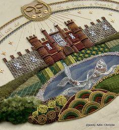 Hampton Court Palace Raised Embroidery Sampler Brooch by Jenny Adin Christie
