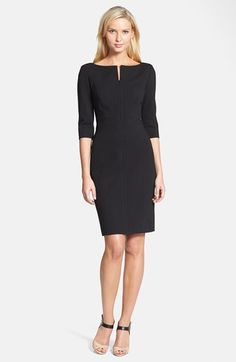 Classiques Entier® Three Quarter Sleeve Zip Front Italian Ponte Dress available at #Nordstrom