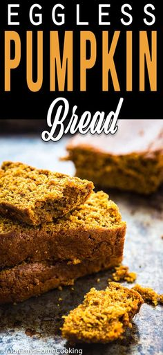This is the best Eggless Pumpkin Bread ever! Moist and tender with the perfect combination of pumpkin and spice! Made in no time. Eggless Recipes, Pumpkin Recipes, Gourmet Recipes, Bread Recipes, Dessert Recipes, Healthy Recipes, Eggless Desserts, Eggless Baking, Healthy Nutrition