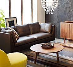 IKEA living room with leather sofa and walnut veneer coffee table #IKEA #PinToWin