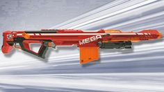 N-STRIKE ELITE MEGA CENTURION-- The MEGA CENTURION is the furthest firing Nerf blaster EVER. It's loaded with the new MEGA whistler dart which is nearly twice the size of a standard ELITE dart and screams through the air when fired. Featuring a removable bipod, owners of this formidable blaster will enjoy unprecedented power, precision and distance. The blaster comes with the removable bipod, one six-dart clip and six MEGA darts. For ages 8 years & up.