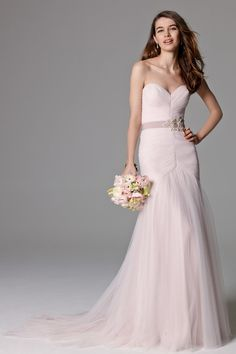 Pink wedding dresses light pink wedding dress wedding dress and new fashion sweetheart pleated tulle with beads light pink simple mermaid sexy backless wedding dresses junglespirit Images