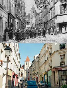 Hier et aujourd'hui / Rue Saint-Blaise 75020 Paris Old Paris, Paris Paris, Paris France, Saint Blaise, Then And Now Photos, Paris Markets, Film Pictures, Grand Paris, History Photos