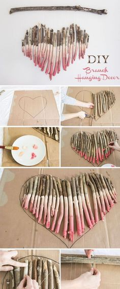 DIY. #hartmaken #hart #muur #liefde Bron: https://www.elegantweddinginvites.com/wedding-blog/8-effortless-diy-wedding-ideas-with-tutorials-s/