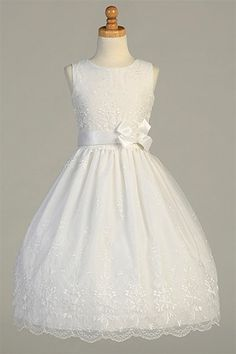 Lovely Organza Dress w/ Embroidery Work All Over & Bow Accent Girl Dress