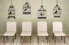 Bird Cages, Houses, Wrought Iron, Set of 4 - Decal Sticker, Vinyl, Wall, Home, Office, Kitchen Decor on Etsy, $59.00