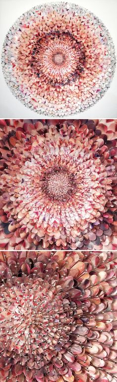 These intricate paper collages are the work of California based artist David Adey. He uses fashion magazines, and found google images as the starting point for his work… and then laser cuts, and craft-punches them into zillions of tiny fragments. He then meticulously pins each bit onto foam board, creating stunningly beautiful, and insanely elaborate mandalas.
