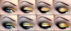 Augen-Make-up Batman make-up?) Brief Wedding ceremony Clothes: For an Casual Weddin Batgirl Makeup, Batman Makeup, Gold Eye Makeup, Love Makeup, Makeup Art, Makeup Ideas, Black And Gold Eyeshadow, Yellow Makeup, Fun Makeup
