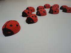 DIY leger lieveheersbeestjes  (geschilderde notenschelpjes)