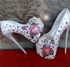 Fancy Cartoon Print Thick Platform High Heel Shoes $150.00 on SALE now $74.39! shoespie.com