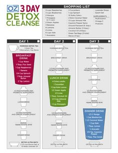 Dr. Oz Three Day Detox Cleanse-Free printable, lose weight and story about how it really went down!