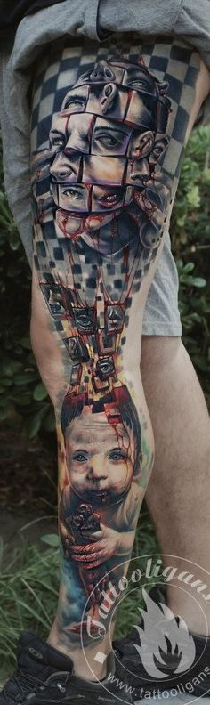 Mens Full Leg #Tattoo With Puzzle Effect
