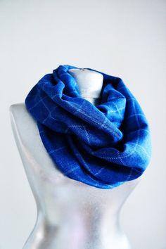 Handmade Tartan Infinity Scarf  Cotton  Blue  Winter by Urbe, $25.00