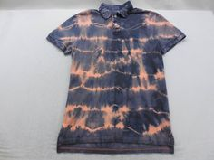 Mens Blue and Peach Tied Dyed Pique Short Sleeve Shirt Polo Size Small by KCteedesigns on Etsy
