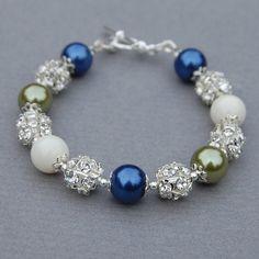 Blue, Green and Ivory Pearl Rhinestone Bracelet, Bridesmaid Jewelry